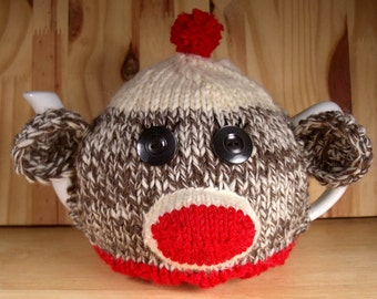 Made to Order - Sock Monkey Tea Cosy- A warm and whimsical sweater for your teapot