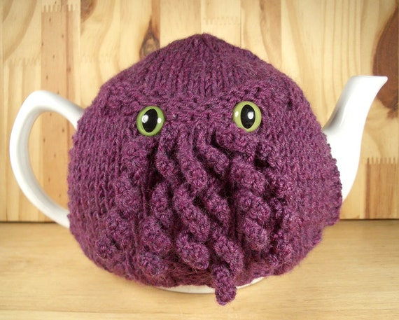 Curly Cthulhu Tea Cosy - a warm and fuzzy sweater for your teapot - Your choice of color and eyes