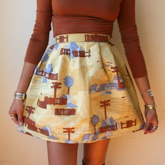 Bird on the Wire Canvas Mini Skirt Sz XS / S