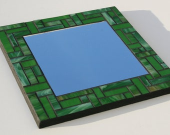 "Leaf Green Mosaic Mirror - Spectrum and Kokomo Glass - 11.75"" x 11.75"""