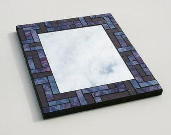 "Purple Plum Pink Stained Glass Mosaic Mirror with Bullseye and Kokomo Glass 10"" x 12"""