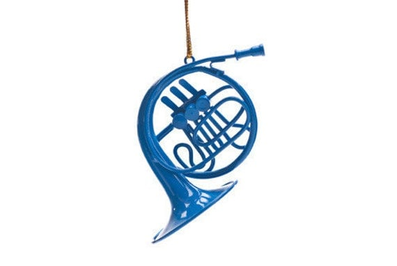 Blue French Horn Ornament