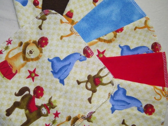Cloth Baby Wipes, Reusable Wipes, CIRCUS ANIMALS, Set of 24