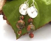Bead earrings gemstone unakite silver circle charms