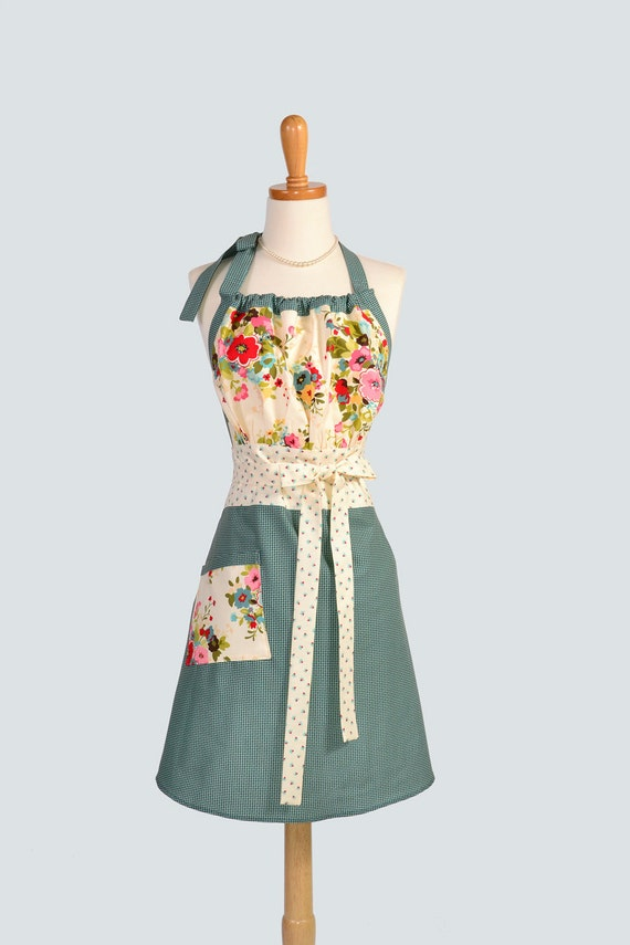Cute Kitsch Retro Apron / Retro Womens Apron in Moda Sophie Turquoise Brown Houndstooth and Creamy Florals Full Length