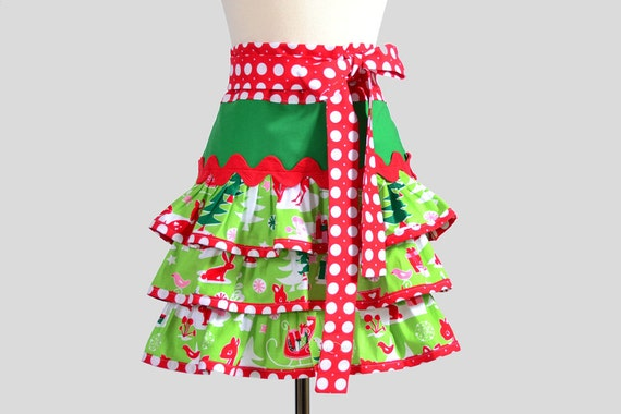 Christmas Apron . Cute Retro Womens Half Apron With Ruffles is One Of A Kind Handmade Holiday Apron