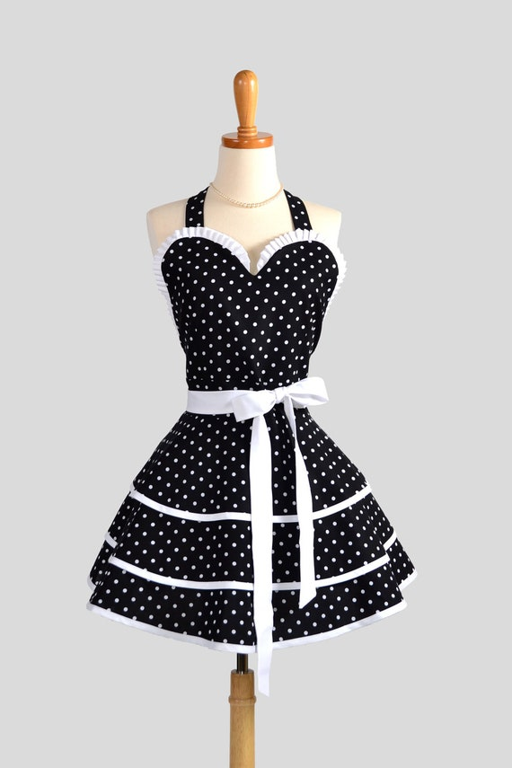 Sexy Retro Pinup Apron : Flirty and Cute Black and White Polka Dot Sweetheart Apron in Vintage Style Full Skirt