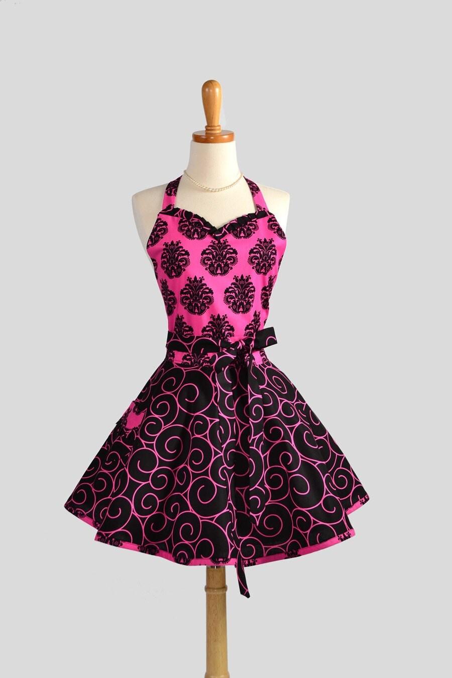 sweetheart retro apron sexy womens apron in fucshia and. Black Bedroom Furniture Sets. Home Design Ideas