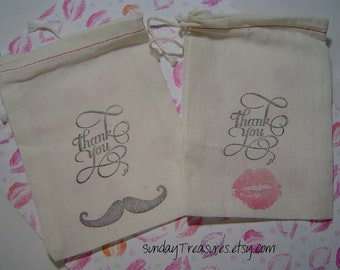 10 pc THANK YOU Mustache and Lips Kiss Hand Stamped 4X6 Muslin Drawstring Favor Candy Bags Rustic Wedding Bride Groom 3 Day Ship
