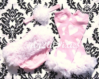 Heart Breaker -  Ruffle Bum Baby Bloomer Diaper Cover .. Legwarmers.. Baby Headband- Photo Prop