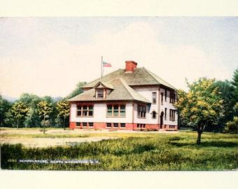 Old School House Vintage Postcard, Woodstock N.H. Nice!