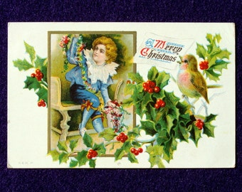 Victorian Boy Christmas Postcard, Antique vintage Early 1900s