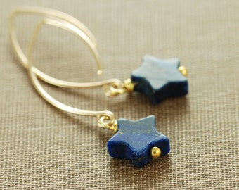 Navy Blue Star Earrings, Lapis Lazuli Gold Dangle Earrings