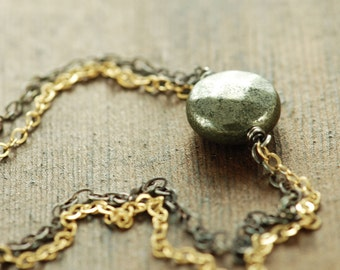 Pyrite Black and Gold Necklace, Mixed Metal Sterling Silver 14k Gold Fill Wire Wrap Jewelry
