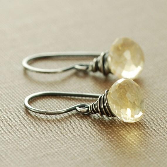 Citrine Jewelry November Birthstone Sterling Silver Earrings Dangle, Golden Honey