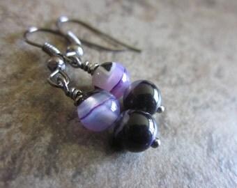 Purple Agate Earrings. Dyed Deep Purple & White Botswana Agate Gemstone Earrings. Minimalist Fashion. Gunmetal. For Her