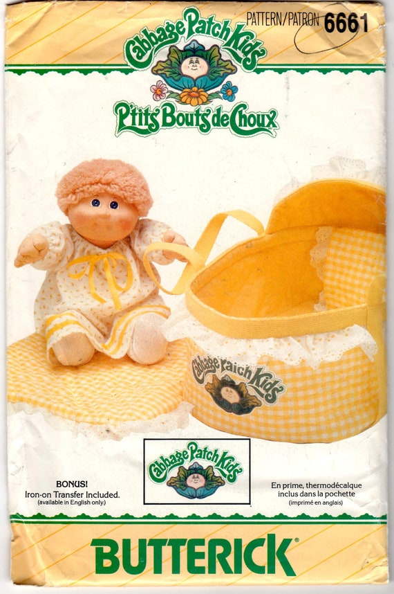 Vintage 1984 UnCut Butterick 6661 Craft Sewing Pattern - Cabbage Patch Kids Bed/Carrier