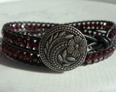 Garnet Glass Beaded Leather Wrap Bracelet