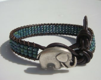 Teal Blue Seed Beaded Leather Bracelet, Elephant Button, Good Luck