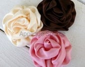 Satin French Twist Flowers - ROSE PINK - Set of 2 Flower Appliques for DIY Hair Accessories Headband Bridal Accessories