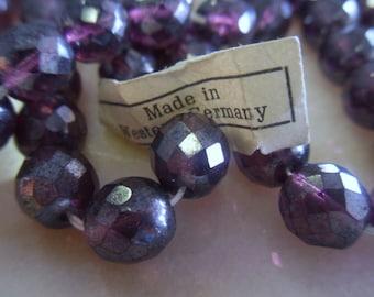 Vintage Czech Fire Purple Polished Beads 8mm Aurora Borealis