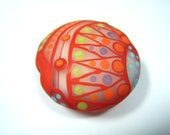 Moogin - Bright and cheerfulextra large lentil focal bead - 30mm- red and greenSRA