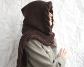 Reddish-Brown Wool Hooded Cabled  Long Scarf  Cowl Christmas Xmas gift Under USD100