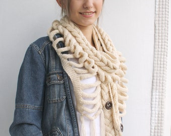 Cream  Wool  Scarf with Brown Button Mothers Day  gift For Mom For Women  Wedding Shawl