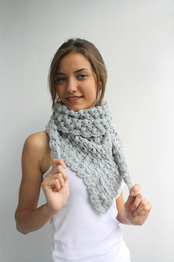 Handmade Crochet  Silver Gray Triangle  Midi Shawl scarf collar Capelet Cowl with tiny Balloons Mothers Day Gift