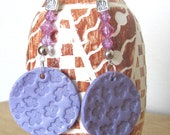 Purple, Lavendar, Embossed Polymer Clay Drop Earrings