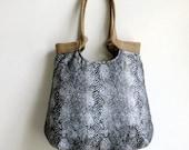 Snake print carry all hobo bag with burlap