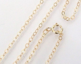 14 Inch 14K Gold Filled Cable Chain Necklace - Custom Lengths Available, Made in USA/Italy