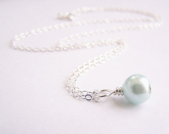 Light Pastel Blue Glass Pearl Necklace - Matching earrings and bracelet available - other colors too - sets - weddings - FREE shipping wai