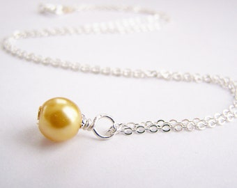 Pumpkin - Glass Pearl Necklace - Matching earrings and bracelet available - other colors - sets - weddings - FREE shipping wai - Holiday