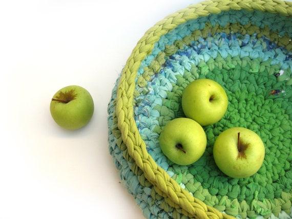 Apple Green Rustic Fabric Crochet Basket Eco Friendly OOAK TAGT team