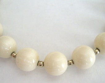 White Lucite Beaded Necklace, with Goldtone Seed Beads, Costume Jewelry, Mad Men, Women's Ladies Jewelry
