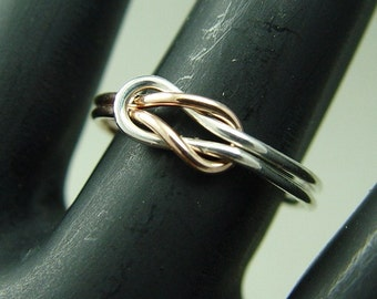 Promise Ring / Infinity Ring / Rose Gold Filled and Silver / Best Friends Ring / Sisters Ring / Wedding Ring