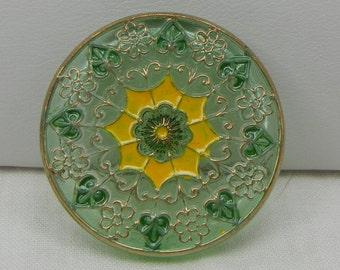Floral Filigree Czech Glass Button