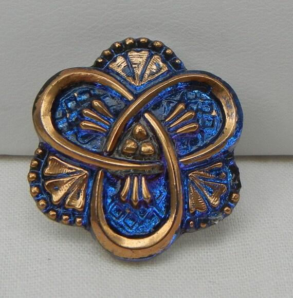 Three Loops Czech Glass Button