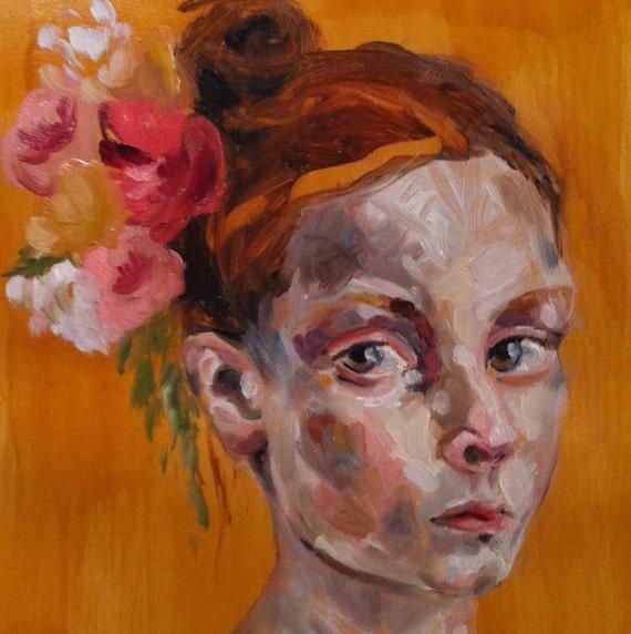 Ophelia, Original Oil Painting on Paper