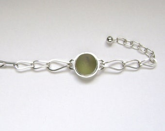 SALE!! Sea Glass Jewelry - Sterling Olive Green English Sea Glass Bracelet