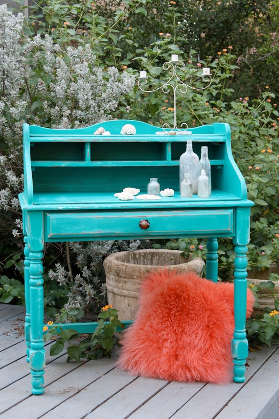 Aqua Blue Desk with Amber glass Anthropologie pull