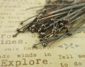 25 Oxidized Sterling Silver Ball Head Pins - You pick Gauge and Size  -  Vintage Style - 100% Guarantee