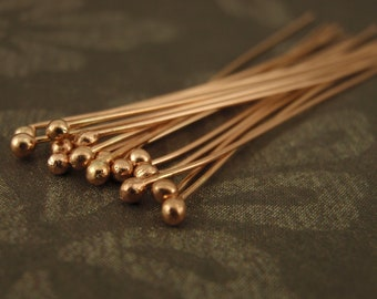 6  - 14kt Rose Gold Filled Ball Head Pins - You Pick Gauge and Length - 100% Guarantee
