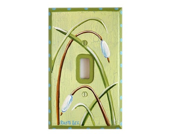 Green Nature Light Switch Cover with Cat Tails,Grass and Blue Accents