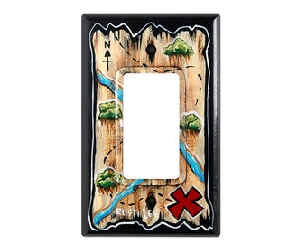 Pirate Treasure Map Toggle Switch Plate Cover
