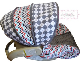 Infant Car Seat Cover .Argyle Steel with Chevron