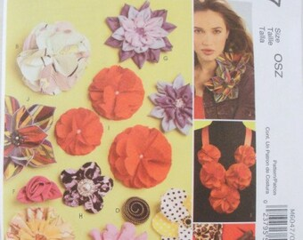 Fabric Flowers Pattern McCalls 6047 fashion accessory