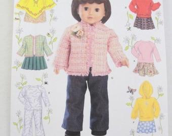 "Simplicity 4297 18"" doll clothes pattern sweatshirt, jacket, poncho, shirt, pants"
