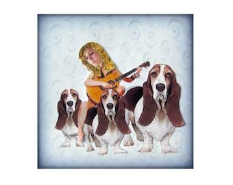bassett hound, dog portrait, animal art, dog art, blue home decor, shabby chic, sad, pensive, guitar, woman, pet collage, tagt team, pet art